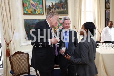 John Hodges, Christopher Chapin, Naomie Pierre Louis. Photo by Tony Powell. Restore Mass Ave. 10th Anniversary. Embassy of Haiti. May 10, 2017