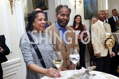 Barbara and Clifford Janey. Photo by Tony Powell. Restore Mass Ave. 10th Anniversary. Embassy of Haiti. May 10, 2017