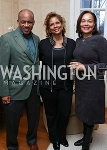 "Howard Woolley, Lauren Slaughter, Martina Bradford. Photo by Tony Powell. Riley Temple ""Aunt Ester's Children Redeemed"" Book Party. Bush Residence. March 11, 2017"