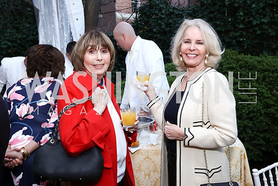 """Sandra McElwaine, Sally Quinn. Photo by Tony Powell. Sally Bedell Smith """"Prince Charles"""" Book Party. Carl Residence. April 8, 2017"""