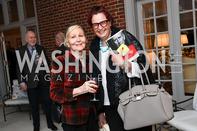 """Evelyn DiBona, Sarah Diligenti. Photo by Tony Powell. Sally Bedell Smith """"Prince Charles"""" Book Party. Carl Residence. April 8, 2017"""
