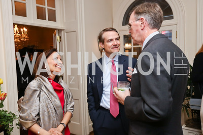 "Odile Granter and Gavin Wilson, Stephen Smith. Photo by Tony Powell. Sally Bedell Smith ""Prince Charles"" Book Party. Carl Residence. April 8, 2017"