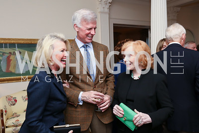 """Charlotte Buxton, Fred Ryan, Buffy Cafritz. Photo by Tony Powell. Sally Bedell Smith """"Prince Charles"""" Book Party. Carl Residence. April 8, 2017"""