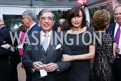 "Bernard Carl, Monaco Amb. Maguy Maccario Doyle. Photo by Tony Powell. Sally Bedell Smith ""Prince Charles"" Book Party. Carl Residence. April 8, 2017"