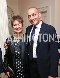 "Dorothy Kosinski and Thomas Krahenbuhl. Photo by Tony Powell. Sally Bedell Smith ""Prince Charles"" Book Party. Carl Residence. April 8, 2017"