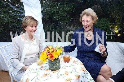 """Mary Denger, Lois Mares. Photo by Tony Powell. Sally Bedell Smith """"Prince Charles"""" Book Party. Carl Residence. April 8, 2017"""