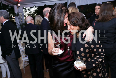 """Bobbi Smith, Gail West. Photo by Tony Powell. Sally Bedell Smith """"Prince Charles"""" Book Party. Carl Residence. April 8, 2017"""