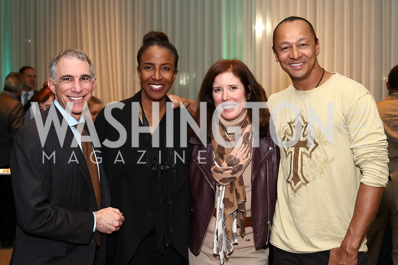 "Steven Kaufmann, Carla Sims, Alexis Kaufmann, Frederic Yonnet. Photo by Tony Powell. ""Sea of Hope"" Premiere Screening. National Geographic. January 5, 2017"