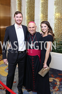 Jake Brown, Bishop Mario Dorsonville, Mikayla Lowenkamp. Photo by Tony Powell. Spanish Catholic Center 50th Anniversary. Marriott Marquis. September 30, 2017