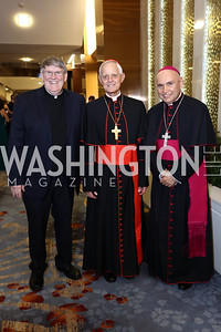 Monsignor John Enzler, Archbishop of Washington Cardinal Donald Wuerl, Bishop Mario Dorsonville. Photo by Tony Powell. Spanish Catholic Center 50th Anniversary. Marriott Marquis. September 30, 2017