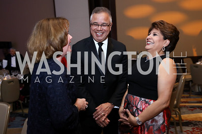Monica Brown, Mauro Albert Morales, National Council of La Raza President Janet Murguía. Photo by Tony Powell. Spanish Catholic Center 50th Anniversary. Marriott Marquis. September 30, 2017