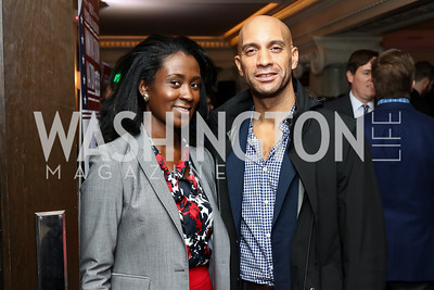 Charlotte Newman, Adrian Fenty. Photo by Tony Powell. TechNet Innovation Lunch. Joe's Seafood. January 19, 2017