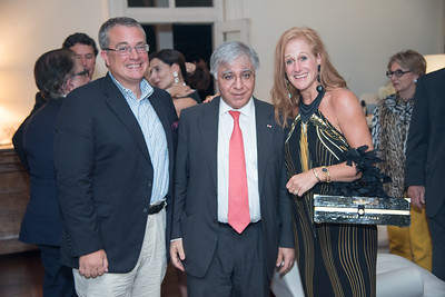 Ambassador David Killion (former US Amb to UNESCO), Fareed Yasseen (Iraqi Ambassador to the US) and Kristin Killion, The Aladdin Project, to promotoe inter-cultural relations. Private Dinner to launch in DC. September 25, 2017.  Photo by Ben Droz.
