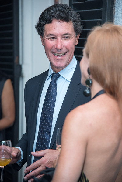 Philippe Gélie, U.S. Bureau Chief for Le Figaro and Kristin Killion, The Aladdin Project, to promotoe inter-cultural relations. Private Dinner to launch in DC. September 25, 2017.  Photo by Ben Droz.