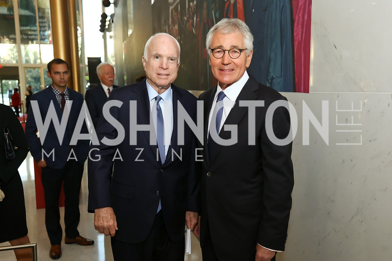 "Sen. John McCain, 24th United States Secretary of Defense Chuck Hagel. Photo by Tony Powell. ""The Vietnam War"" Preview Screening. Kennedy Center. September 12, 2017"