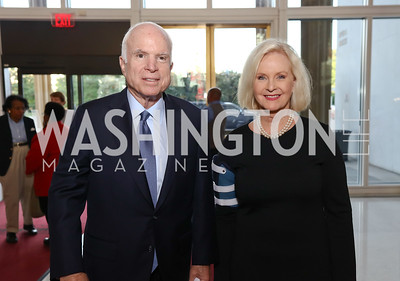 "Sen. John McCain and Cindy McCain. Photo by Tony Powell. ""The Vietnam War"" Preview Screening. Kennedy Center. September 12, 2017"