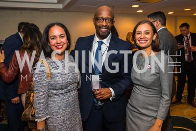 Rocio Inclan, Michael McPherson, Maria Teresa Kumar. Photo by Alfredo Flores. Tribute to Mayors Inaugural Unity Dinner. Hyatt Regency Capitol Hill. January 18, 2017
