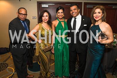 Jean Marie Coulbary, Adryana Boyne, Kenya Price, Jerry Price, Teri Galvez. Photo by Alfredo Flores. Tribute to Mayors Inaugural Unity Dinner. Hyatt Regency Capitol Hill. January 18, 2017