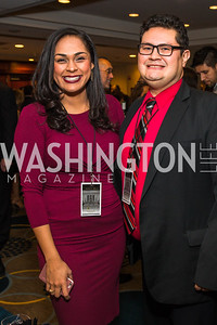 Michelle Dhansinghani, Dennis Gonzalez. Photo by Alfredo Flores. Tribute to Mayors Inaugural Unity Dinner. Hyatt Regency Capitol Hill. January 18, 2017