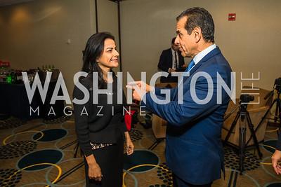 Rep. Nanette Barragán, Antonio Villaraigosa. Photo by Alfredo Flores. Tribute to Mayors Inaugural Unity Dinner. Hyatt Regency Capitol Hill. January 18, 2017