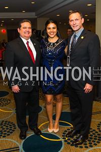 Roger Rocha Jr., Maritza Huerta, Brent Wilkes. Photo by Alfredo Flores. Tribute to Mayors Inaugural Unity Dinner. Hyatt Regency Capitol Hill. January 18, 2017 .CR2