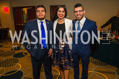 Jesus Rodriguez, Stephanie Montano, Hector Araujo. Photo by Alfredo Flores. Tribute to Mayors Inaugural Unity Dinner. Hyatt Regency Capitol Hill. January 18, 2017