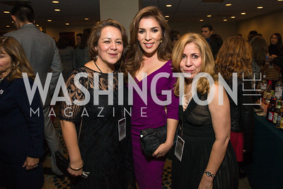 Karla Espinoza, Tsi-Tsi-Ki Félix, Melisa Diaz. Photo by Alfredo Flores. Tribute to Mayors Inaugural Unity Dinner. Hyatt Regency Capitol Hill. January 18, 2017
