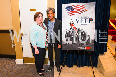 Mary Bernard, Francis Faina. Photo by Alfredo Flores. Veep Screening. Motion Picture Association of America. April 13, 2017 .CR2