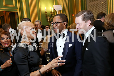 Lucia Riddle, Jonathan Capehart and Nick Schmit. Photo by Tony Powell. WPA 50th Anniversary Gala. Mellon Auditorium. March 11, 2017