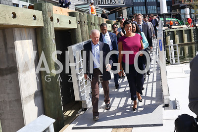 PN Hoffman Founder and CEO Monty Hoffman, Mayor Muriel Bowser. Photo by Tony Powell. Wharf Water Taxi Preview. October 10, 2017