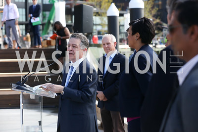Madison Marquette Chairman Amer Hammour, PN Hoffman Founder and CEO Monty Hoffman, Mayor Muriel Bowser. Photo by Tony Powell. Wharf Water Taxi Preview. October 10, 2017