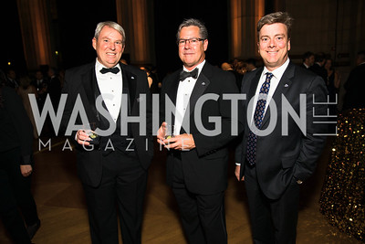 Rob Dennis, Bob Damen, Chris Worley. Photo by Alfredo Flores. White Hat Gala. Andrew W. Mellon Auditorium. October 26, 2017.