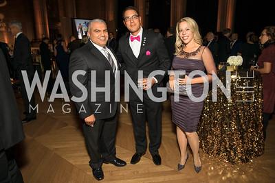 Mo Jafari, Les Buday, Emily Buday.  Photo by Alfredo Flores. White Hat Gala. Andrew W. Mellon Auditorium. October 26, 2017.