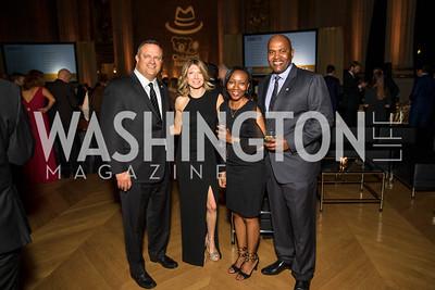 John Wood, Jessica Wood, Tracy Barnett, Hugh Barnett. Photo by Alfredo Flores. White Hat Gala. Andrew W. Mellon Auditorium. October 26, 2017.