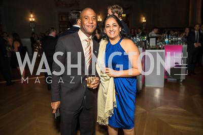 Oba McMillan, Vicki Panchal. Photo by Alfredo Flores. White Hat Gala. Andrew W. Mellon Auditorium. October 26, 2017.