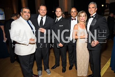 Sumit Seghal, Bill Moss, Brian Kile, Chad Wilson, Dede Schmidt, Rudy Schmidt. Photo by Alfredo Flores. White Hat Gala. Andrew W. Mellon Auditorium. October 26, 2017.