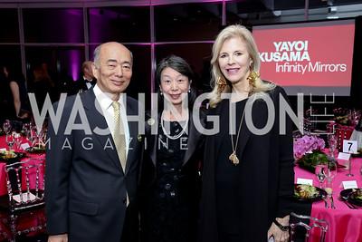 Japan Amb. Kenichiro Sasae and Nobuko Sasae, Jane Cafritz. Photo by Tony Powell. Yayoi Kusama|Infinity Mirrors VIP Opening and Dinner. Hirshhorn Museum. February 22, 2017