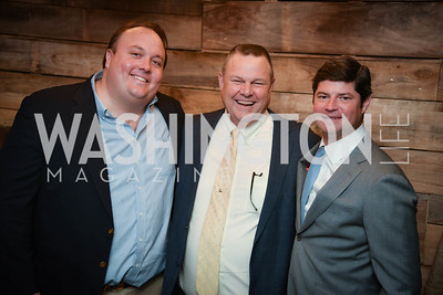 Fritz  Brogan, Senator Jon Tester, Win Huffman,  Yellowstone Forever Young Patrons Benefit, The Hawthorne, May 4, 2017. Photo by Ben Droz