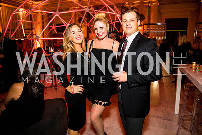 Natalie Burkhalter, Julie Grace Brufke, Kevin Swanson . Photo by Alfredo Flores. Young & the Guest List. Presidential Suite and East Hall of Union Station. November 10, 2017.