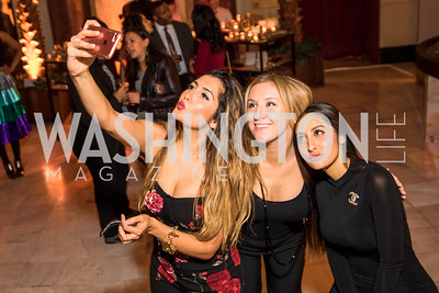 Mursal Zamanzada, Heather Mahoney, Tahera Zamanzada. Photo by Alfredo Flores. Young & the Guest List. Presidential Suite and East Hall of Union Station. November 10, 2017.