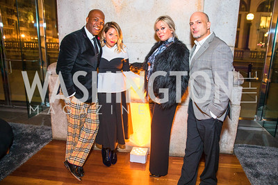 Barnette Holston, Heather Shaw Menis, April Jones Firoozabadi, Troy Petenbrink. Photo by Alfredo Flores. Young & the Guest List. Presidential Suite and East Hall of Union Station. November 10, 2017.
