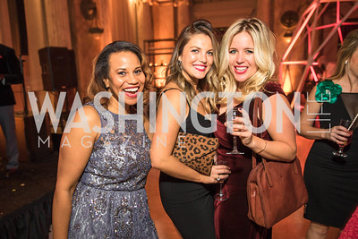 Kara Brooks, Sarah Asterbadi, Caitlin Dietze. Photo by Alfredo Flores. Young & the Guest List. Presidential Suite and East Hall of Union Station. November 10, 2017.