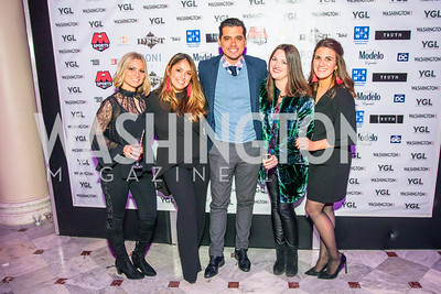 Kristy Strouch, Cindy Peet, Jose Duran, Dede Byrnes, Emily Stern. Photo by Alfredo Flores. Young & the Guest List. Presidential Suite and East Hall of Union Station. November 10, 2017.