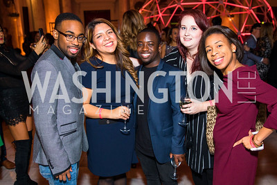 Ryan Ferguson, Jazmin Vargas, Adrian Boafa, Virginia Purcell, Brianna Battle. Photo by Alfredo Flores. Young & the Guest List. Presidential Suite and East Hall of Union Station. November 10, 2017.