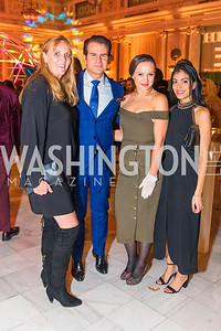 Tara Gorman, Vincent DePaul, Fran Holuba, Kaline Hamadi. Photo by Alfredo Flores. Young & the Guest List. Presidential Suite and East Hall of Union Station. November 10, 2017.