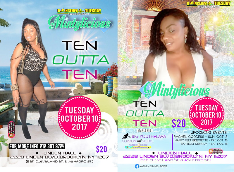 Tue. Oct. 10 (BOOKED) MINTYLICIOUS' DANCEHALL TUESDAY