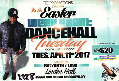 "TEE PROMOTION ""EASTER WEEK DANCEHALL TUESDAY""(15)"