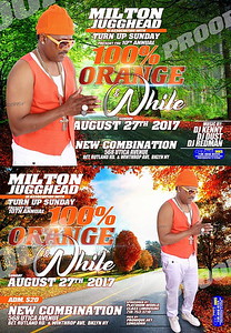 Sun. Aug. 27 (BOOKED) MILTON JUGGHEAD's ORANGE & WHITE AFFAIR