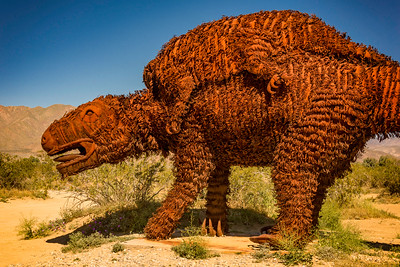 Prehistoric animal metal sculpture at Anza-Borrego State Park in California