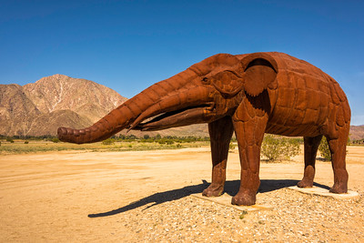 Wooley mammoth metal sculpture at Anza-Borrego State Park in California